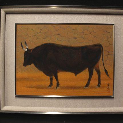 画像 長谷部 日出男:日本画家 長谷部 日出男 『牛』 8号