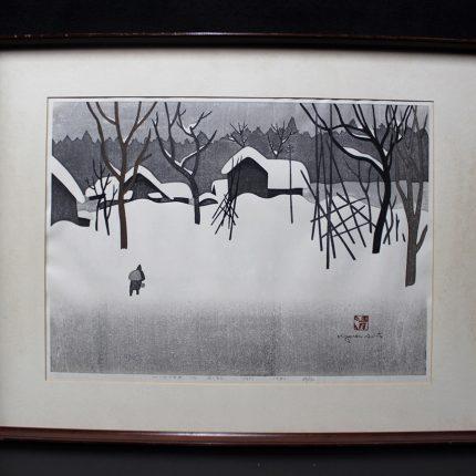 画像 斎藤清 木版画:斎藤 清 『会津の冬』 木版画