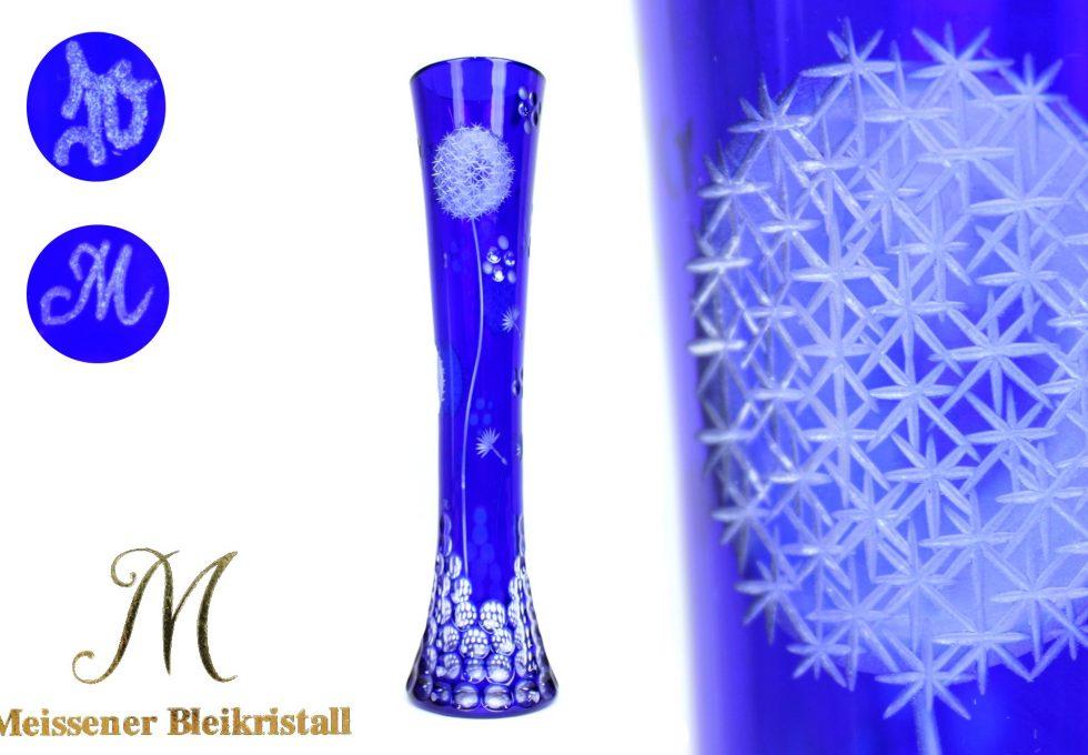 マイセンクリスタル 青被ガラス タンポポ文 花瓶