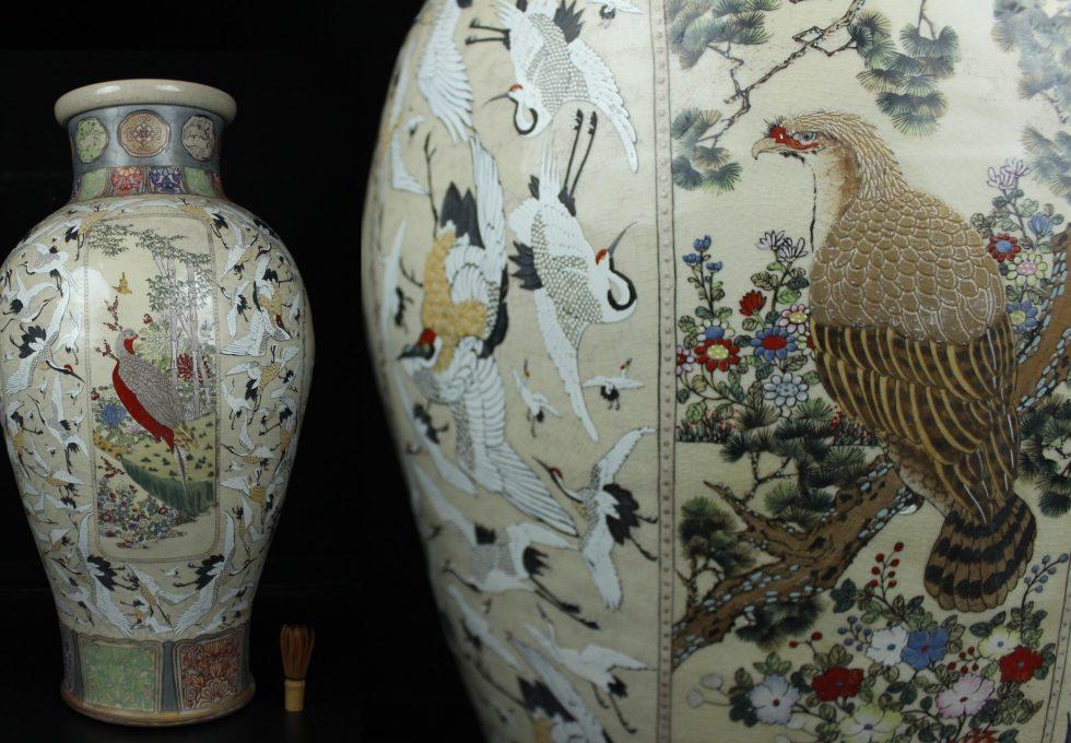 薩摩焼 色絵金彩群鶴花鳥図 大花瓶