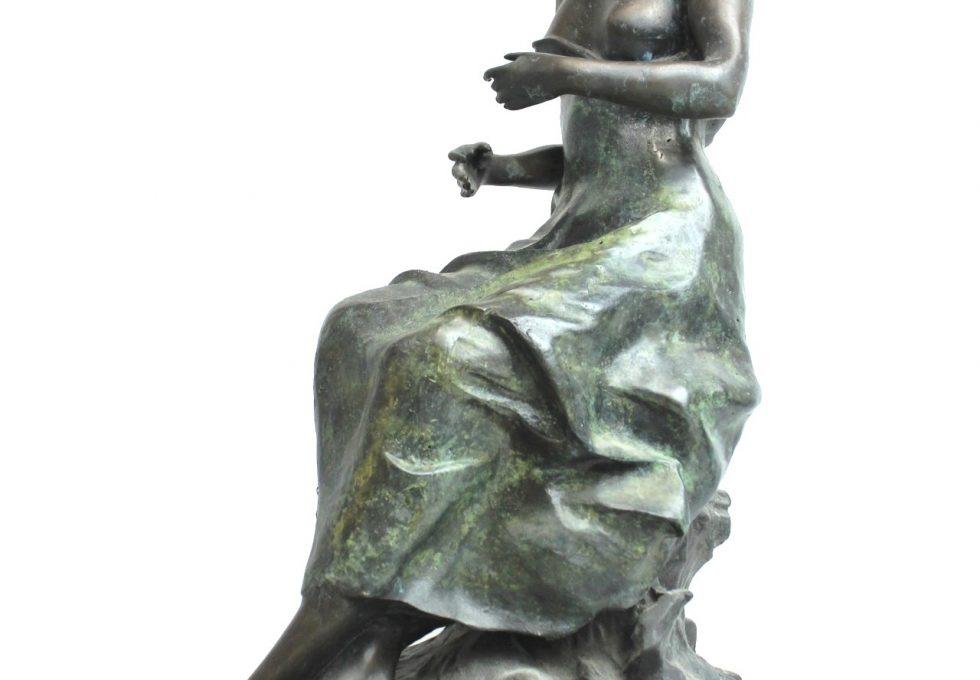 仏彫刻家 オーギュスト モロー 『SITTING PRETTY』ブロンズ 特大63㎝